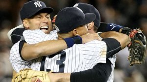 Oct 25, 2009. Derek Jeter, Alex Rodriguez and Mark Teixeira celebrate after the Yankees' win. (Nick Laham_Getty)