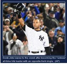 Sep 12, 2009.  Derek Jeter waves to the crowd after becoming the Yankees' all-time hits leader with an opposite-field single.  (AP)