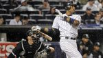 Aug 28--Robinson Cano watches the flight of his game-winning homer in the 10th. (AP)