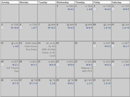July 2009 Regular Season Schedule