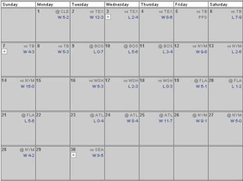 June 2009 Regular Season Schedule