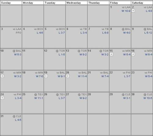 May 2009 Regular Season Schedule