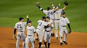 Nov 1, 2009--The Yankees celebrate the final out of their Game 4 win Sunday night. (Getty)