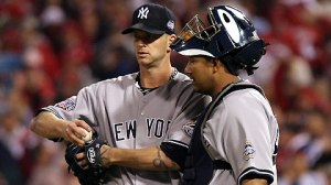 Nov 2, 2009--A.J. Burnett gets a visit from catcher Jose Molina in the first inning Monday night. (Getty)