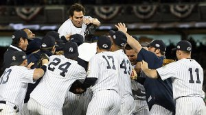 Nov 4, 2009--The Yankees celebrate after knocking off the Phillies in Game 6 at Yankee Stadium. (Getty)