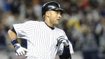 Sep 11--Derek Jeter runs to first base in the third inning after career hit No. 2,722. (AP)