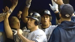 Sep 3--Mark Teixeira and Alex Rodriguez are greeted after scoring on Hideki Matsui's single.  (AP)